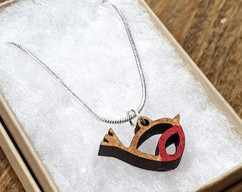 Wooden robin charm necklace. Tiny hand-painted bird pendant. RSPB member/ bird lover gift, eco-friendly jewelry, silver-plated chain UK Made
