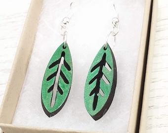 Green leaf dangly earrings - simple lasercut wood jewelry - nature lover - birthday gift for her - handmade - scandi folk style earrings