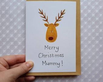 Mummy Rudolf Christmas Card - Merry Christmas - cute personalised reindeer card - handmade in Sheffield - eco-friendly - baby's first Xmas