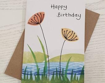 Wildflower birthday card - handmade contemporary art - countryside - botanical - nature - seedheads - grass - for her