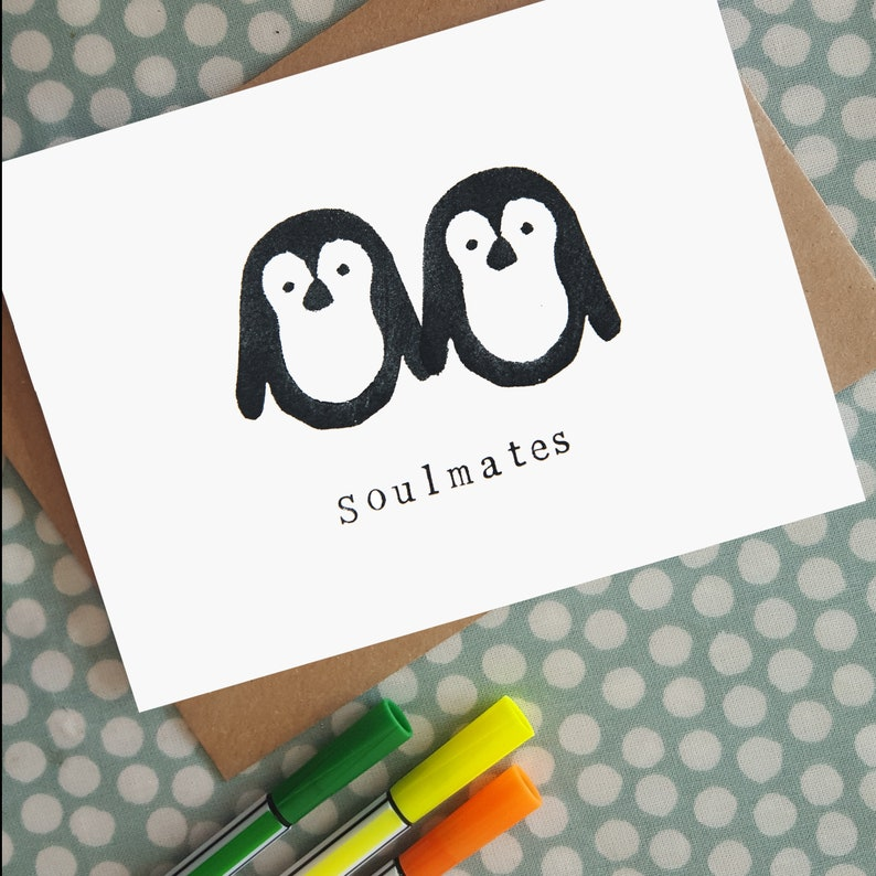 Penguin Soulmates love card  for wedding / anniversary image 0