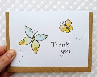 Butterflies Thank You Card - cute thanks card - nature lover - gardener - simple cute card - eco-friendly - handmade - card for teacher