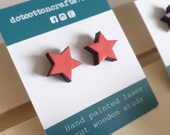 Coral star studs - hand painted salmon pink - mini wood earrings - handmade - lasercut - hypoallergenic stainless steel & silicone backs Eco