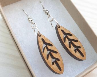 Wooden leaf dangly earrings - simple handmade lasercut scandi design - nature lover/gardener gift eco, sustainable, light, stainless steel