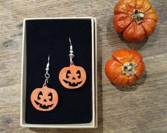 Dangly Pumpkin Earrings - handpainted lasercut wooden danglies - handmade halloween costume jewellery - scary / spooky / cute - orange