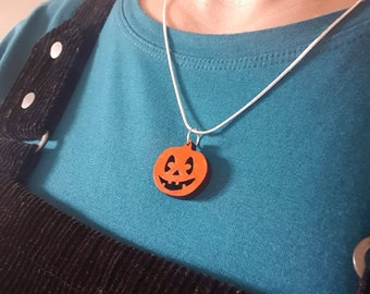 Pumpkin Necklace - Fun spooky Halloween costume jewelry. Choose silver chain or black cord. Handmade original laser-cut wooden jewellery UK