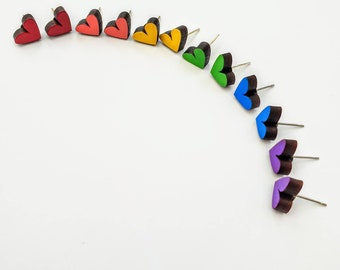 Colourful heart studs - Hand painted mini love heart laser cut earrings - LGBTQ+ Rainbow colours: Red/Yellow/Pink/Green/Orange/Pruple/Blue
