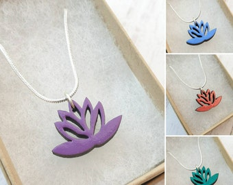 Tiny lotus flower necklace. Dainty laser cut wooden pendant.  Hand-painted soft pastel colours. Pretty flower charm. Made in UK. Eco jewelry