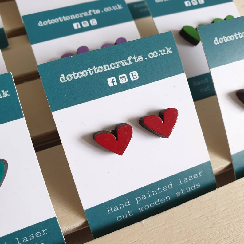 Tiny heart studs. Cute hand-painted wooden earrings. Red
