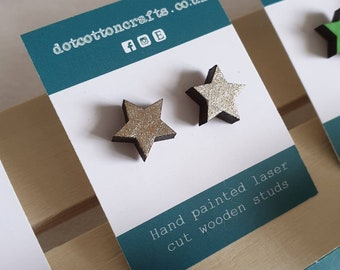 Champagne star studs - hand painted silvery-gold - mini laser cut earrings - hypoallergenic stainless steel / silicone backs - eco studs