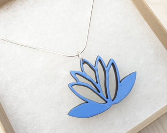 Wooden lotus flower necklace - hand painted pendant - pastel cornflower blue - birthday gift for her - summer jewelry - silver plated chain