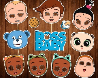 Boss Baby Photo Booth Props - INSTANT DOWNLOAD - Boss Baby Party Supplies - Birthday Printables - Boss Baby Movie Masks