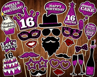 16th Birthday Photo Booth Props - Printable PDF - INSTANT DOWNLOAD - Sweet Sixteen Props - Sixteen Birthday Party Photo Booth Supplies