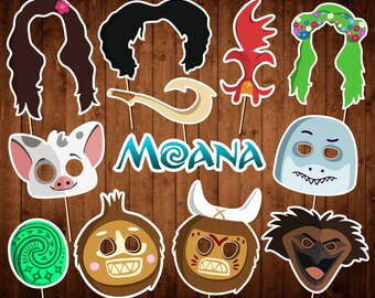 Moana Photo Booth Props - Printable PDF - Moana Birthday Party Supplies - INSTANT DOWNLOAD - Party Props