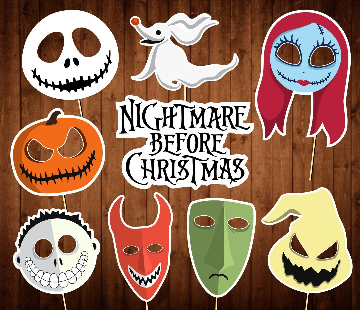 The Nightmare Before Christmas Photo Booth Props Printable | Etsy