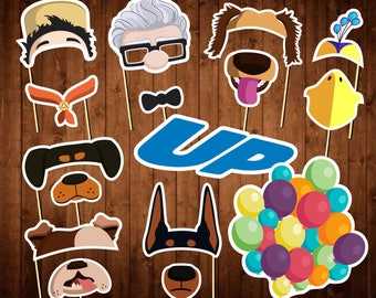 Up Movie Photo Booth Props - Up Pixar - Printable PDF - Up Movie Party Supplies - Up Movie Kids Birthday Props - Up Disney Masks