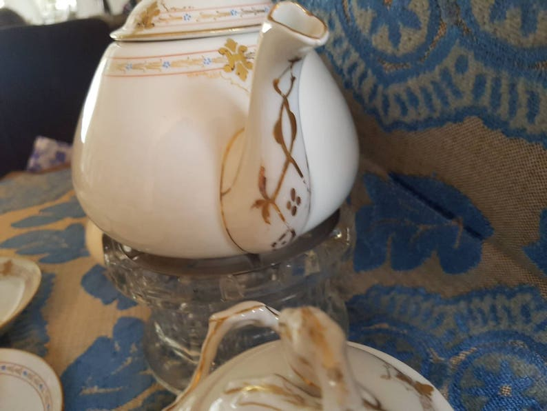 Lanternier Hand Painted Porcelain TeaMoccaset  Limoges A