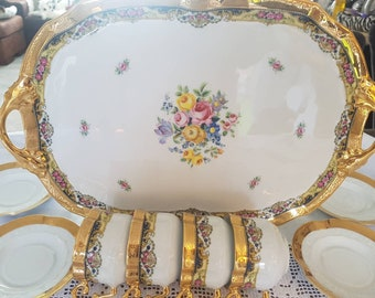 Limoges Serving Set 24kt gold with flowers and 4 cups and saucers