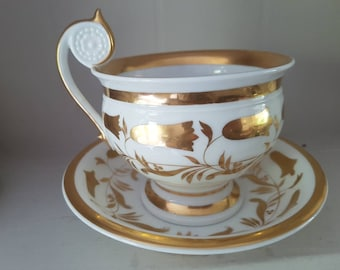 Meissen Big Tea/ chocolate Cup and Saucer Handpainted Gold