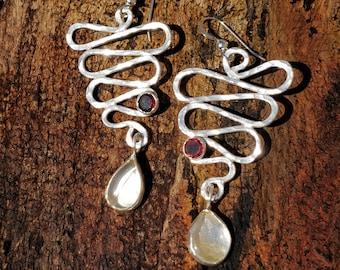 Citrine & Garnet Earrings, Sterling Silver, Citrine, Garnet, Handmade