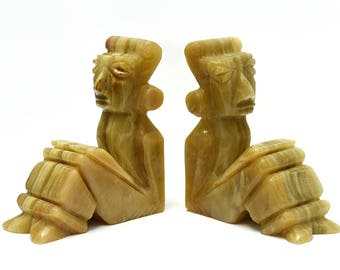 Vintage Marble Stone Mayan/Aztec/Tiki Book Ends Set