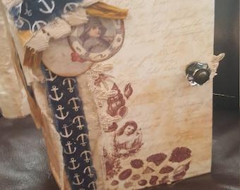 Diary, Journal, Vintage style Junk Journal, summer/beachy journal, hand sewn