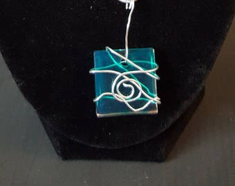 Handmade Blue Resin Pendant with Silver Wire-wrap Design