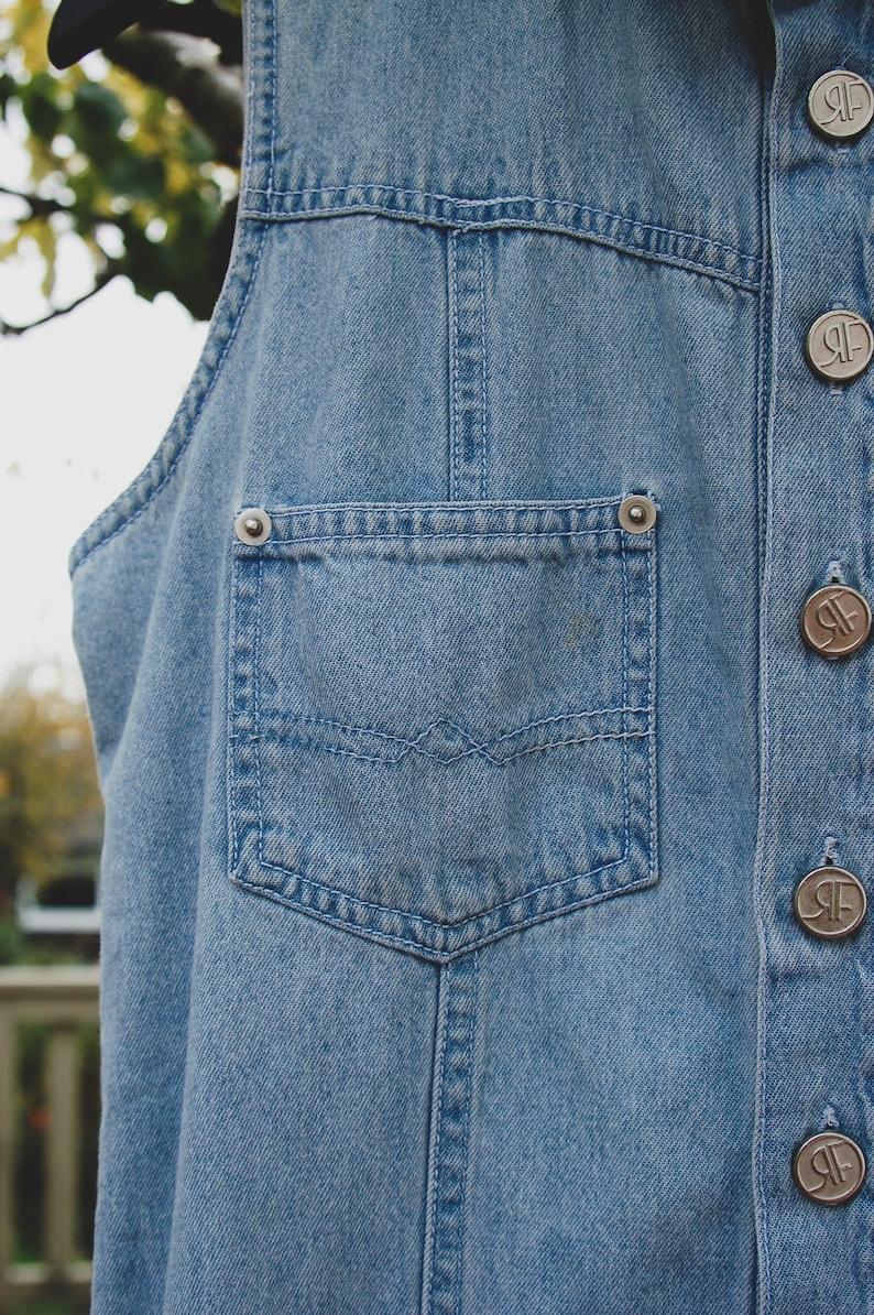 vintage light wash button up sleeveless denim romper 90s retro collared playsuit jumpsuit size ML