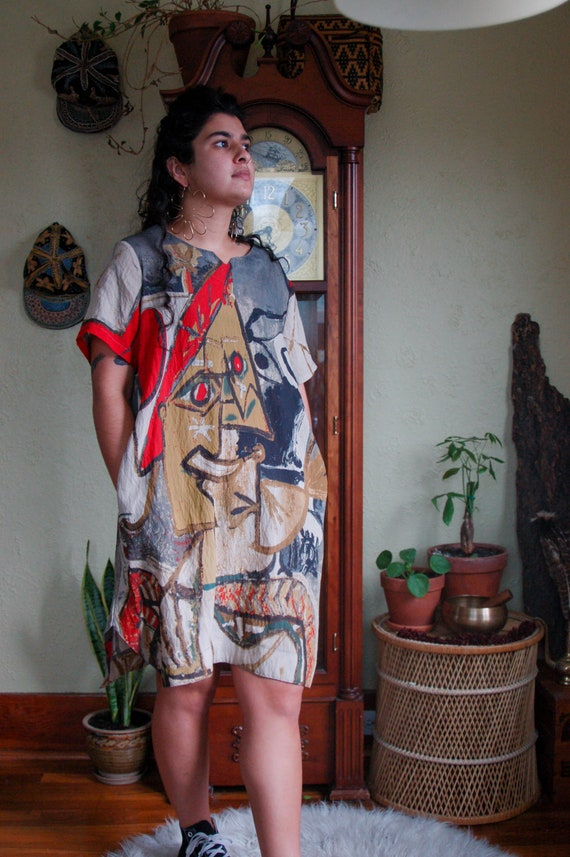 vintage/ picasso abstract trapeze dress/ large flo
