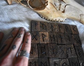Dark oak elder futhark rune set *pagan*asatru*divination*ritual*witchcraft*