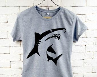 Shark Ozean Fisch cooles grau T-Shirt für Frauen