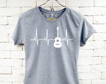 In der Liebe mit meiner Gitarre Musik Cool grau T-Shirt für Frauen