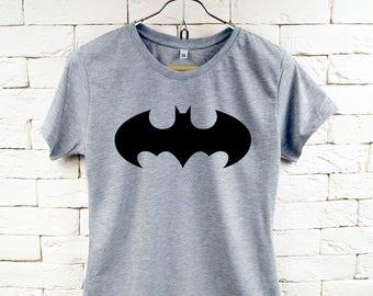 Schwarze Batman-Logo Cool Gray-t-Shirt für Frauen