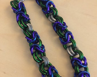 Purple and Green Chainmaille Bracelet
