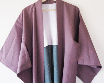 Purple and Blue Vintage Japanese Haori Kimono Jacket