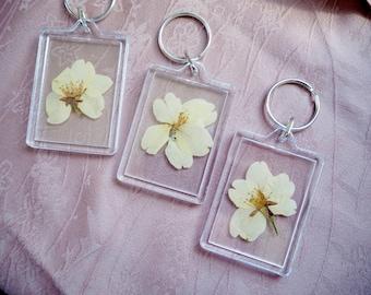 Pressed Sakura Cherry Blossom Japanese Keychains