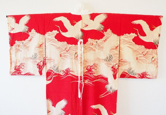 Japanese Crane Antique Silk Red Authentic Kimono R