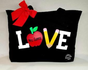 77ae0216edd Teacher Gift I Teacher tote bag I Teacher book bag I Back to school I  School bag I kindergarten I Teacher Canvas I Tote bag Teachers I Love
