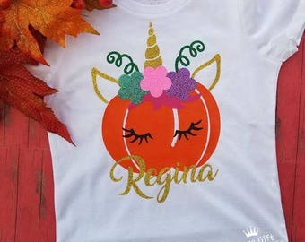 1b890fc2 Halloween t-shirt | Pumpkin Shirt | Cute Halloween Shirt | kids halloween  girl | Perfect Gift | pumpkin unicorn shirt
