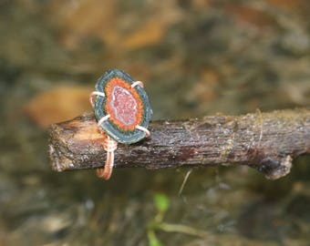 Wire wrapped tabasco geode ring