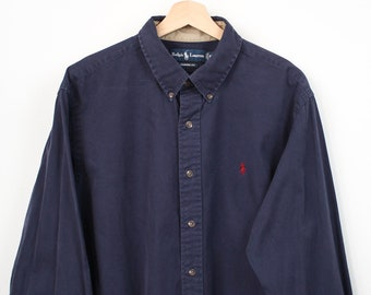 a9761b43f 90s Ralph Lauren Polo Navy Classic Fit Oxford | Size XL Vintage 1990s Logo  Blue Button Down Shirt