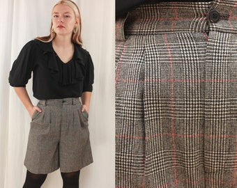 Vintage Wool Shorts High Waist Pleated Preppy Three Pairs