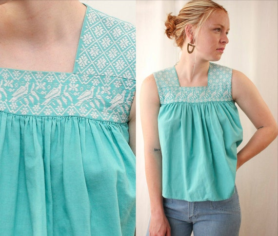 60s 70s Embroidered Birds Babydoll Top Size XS | V
