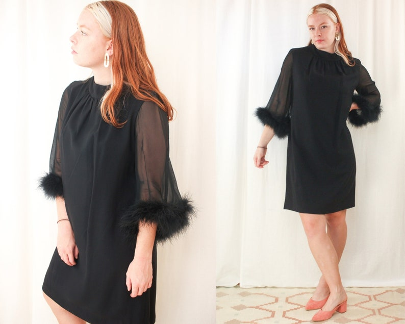 1960s Sheer Holiday Bell Sleeve Shift Dress Vintage Little Black Go-Go Mini Dress 60s Mod Feather Sleeve Cocktail Dress size M