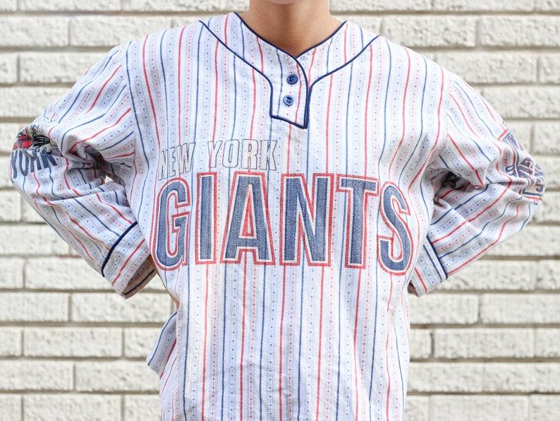 90s Unisex Nfl New York Giants Flannel Baseball Shirt Etsy