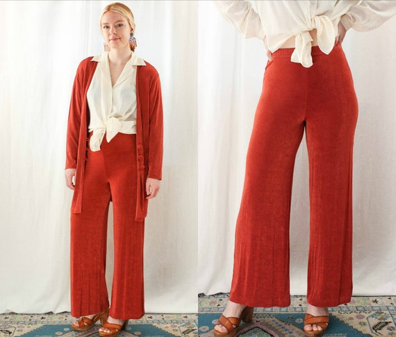 90s Micro Ribbed Wide Leg Pants and Cardigan Size