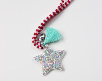 Snowy Glitter Star Necklace