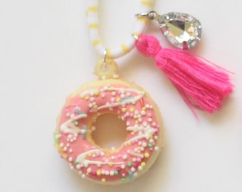 Pink Sprinkle Donut Necklace