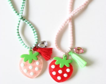 Strawberry Necklace-Pink or Red
