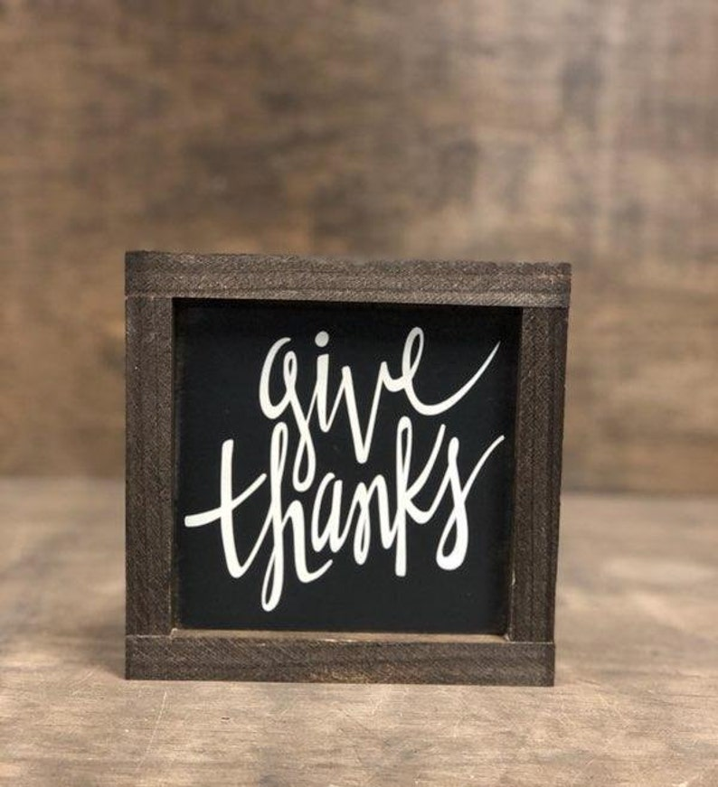 Give Thanks Charcoal or Cream Framed Wooden Sign